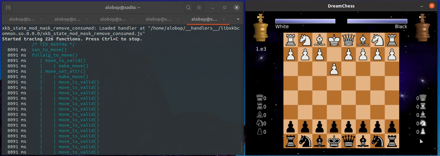 Instrumenting a Chess game with FЯIDA